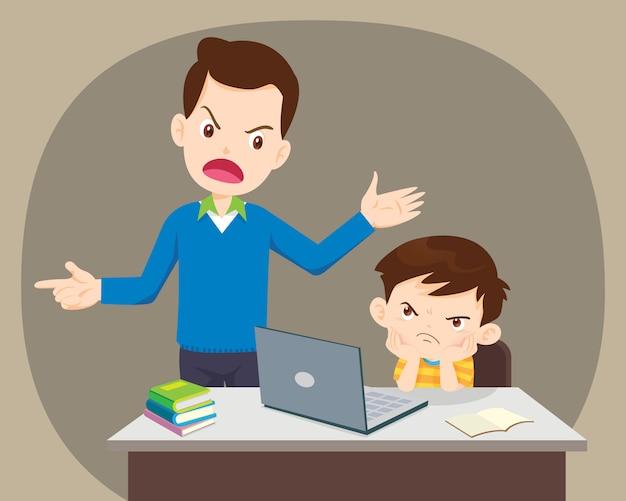 Père et fils en colère à l'aide d'un ordinateur portable à la maison
