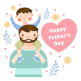 Père et fils design plat