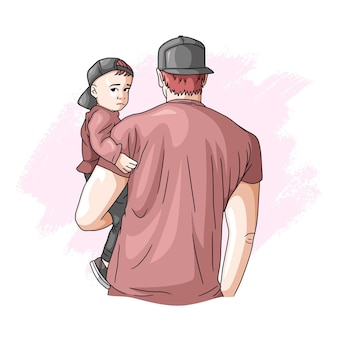 Père et fils dessinés à la main pour la fête des pères 2