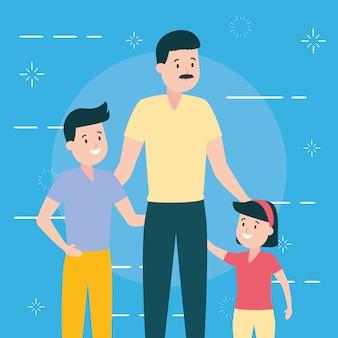 Père avec fils et fille