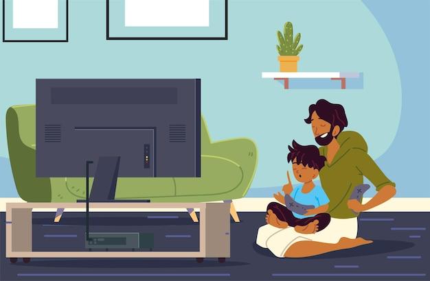Père et fils jouant à des jeux vidéo
