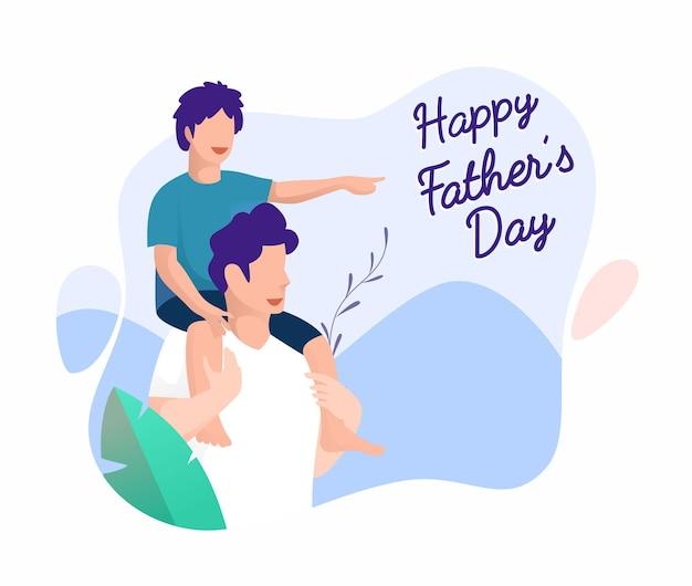 Père et fils jouent ensemble concept heureux fête des pères à plat