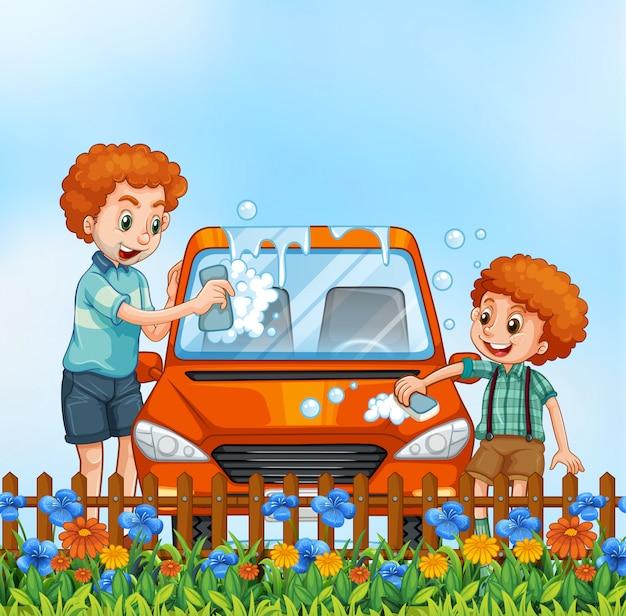 Père et fils, lavage voiture