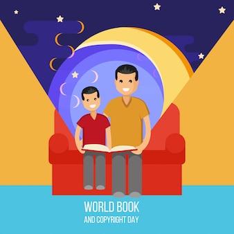 Père et fils lisent un livre