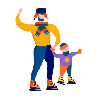 Père et fils, patinage, illustration, jeux famille, hiver