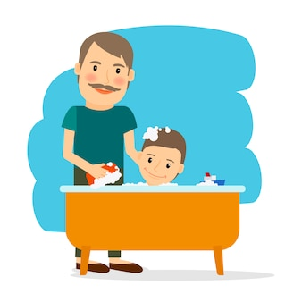 Père et fils prenant un bain