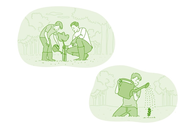 Père et fils prenant soin de cultiver et d'arroser les plantes
