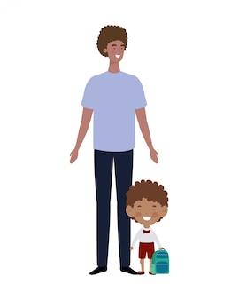 Père avec fils de retour à l'école