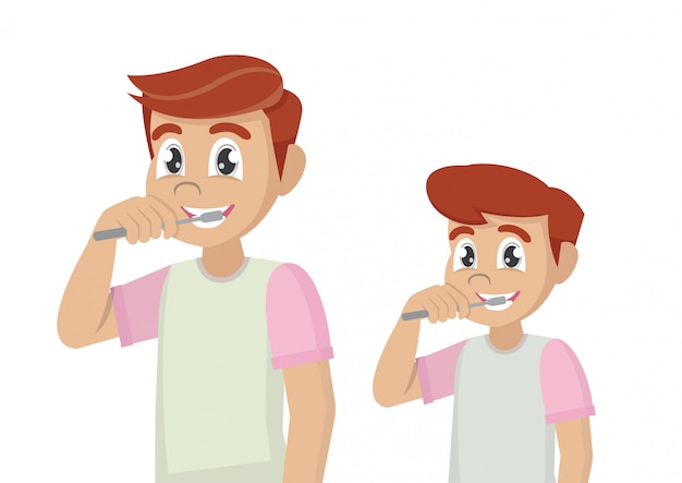 Père et fils se brossent les dents avec un dentifrice.