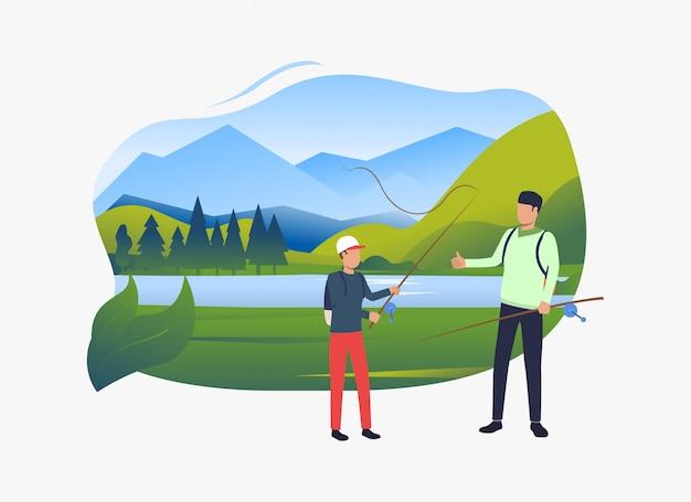 Père et fils tenant des cannes à pêche, paysage avec lac