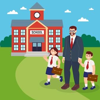 Père et frères et sœurs retournent au concept de l'école
