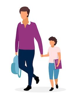 Père avec illustration plat écolier. frères aînés et jeunes vont à l'école en tenant par la main des personnages de dessins animés.