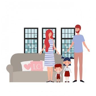 Père isolé et mère avec enfants