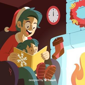 Père, lecture, sien, fille, noël, illustration