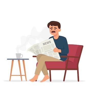 Père lit le journal et boit du café