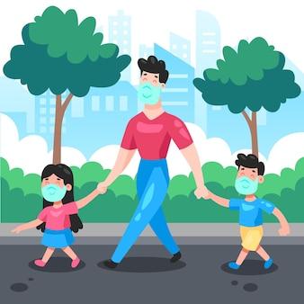 Père marchant avec ses enfants portant un masque