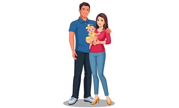Père et mère avec fille. famille heureuse