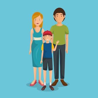 Père et mère avec fils