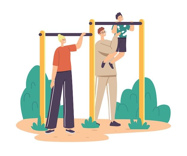 Père et mère personnages formation petit garçon sur barre horizontale. famille faisant de l'exercice en plein air, son fils avec papa aide à apprendre à rattraper son retard, la paternité ou le concept d'enfance. illustration vectorielle de gens de dessin animé