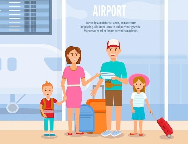 Père et mère voyagent avec des personnages pour enfants.