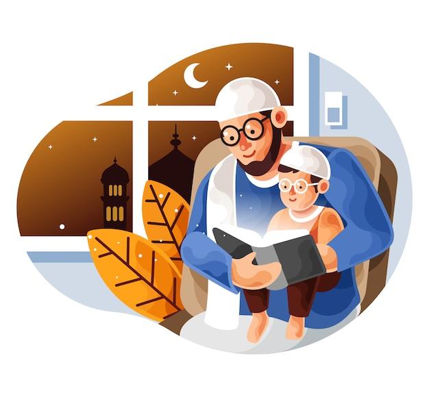 Un père musulman enseigne à son fils la lecture du coran