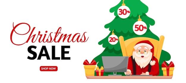 Le père noël achète des cadeaux en ligne pendant les soldes de noël. bannière horizontale de vente de vacances.