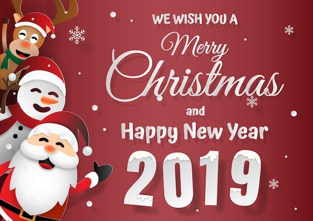 Père noël et amis joyeux noël et bonne année