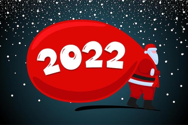 Le père noël arrive et porte de gros cadeaux lourds sac rouge noël et bonne année 2022