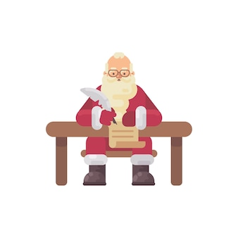 Le père noël assis à son bureau écrit une lettre à un enfant. illustration plate de caractère de noël