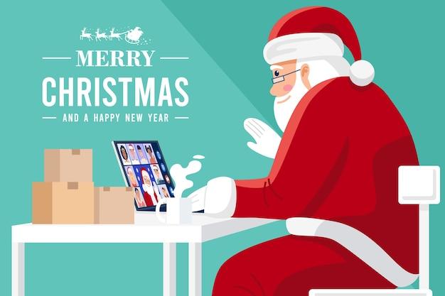 Père Noël Ayant Une Vidéoconférence Sur Ordinateur Avec Des Enfants à La Maison. Vecteur Premium