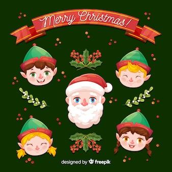 Père noël avec de beaux elfes