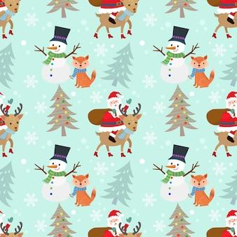 Père noël, bonhomme de neige, cerf et renard en hiver.