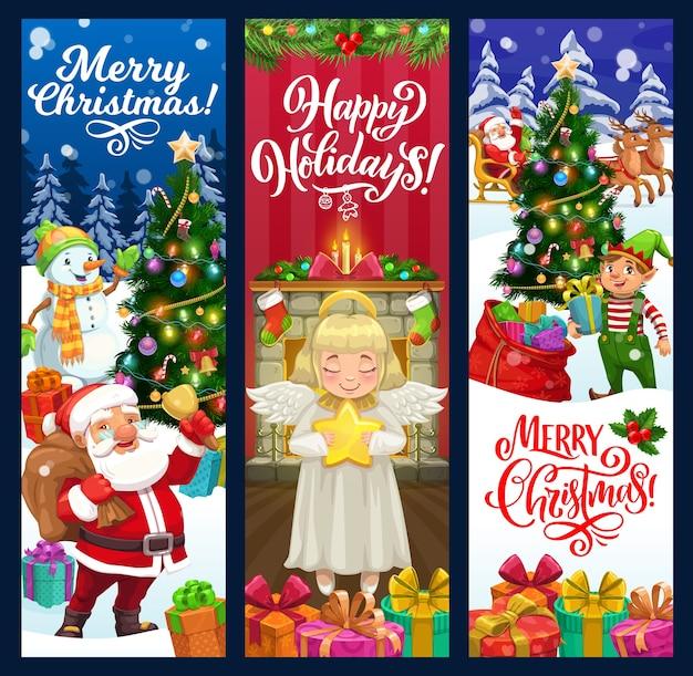 Père noël, bonhomme de neige et elfe avec des cadeaux de noël et des bannières de voeux d'arbre de noël