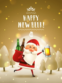 Père noël avec carte de voeux de nouvel an de bière père noël courant avec une chope de bière et un sac avec des bouteilles