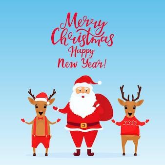 Le père noël et les cerfs. carte de voeux pour le nouvel an et noël.