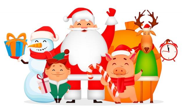 Père noël, cochon, cerf, bonhomme de neige et elfe