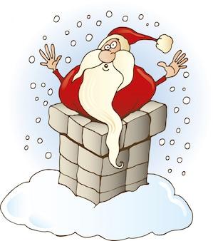Père noël coincé dans la cheminée