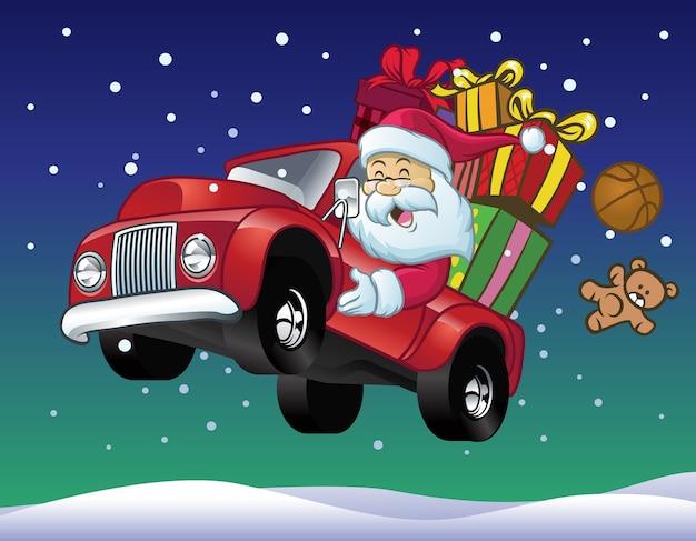 Père noël conduire un camion plein de cadeaux de noël