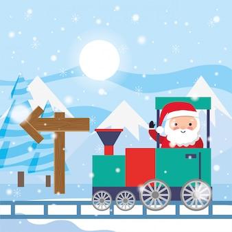 Père noël conduite de train entre paysage d'hiver