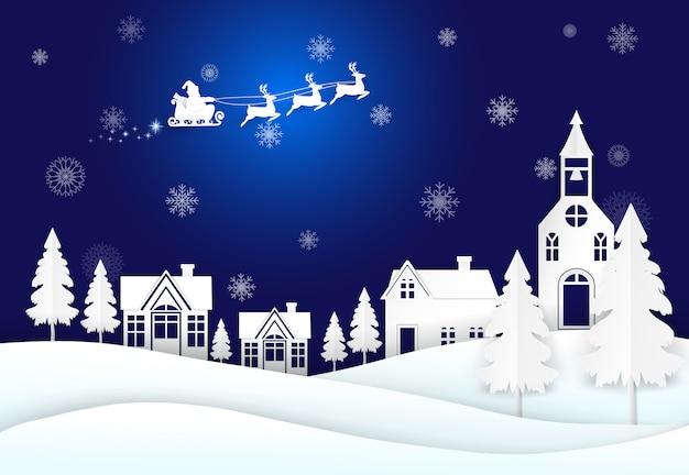 Père noël dans le ciel nocturne et flocon de neige saison d'hiver