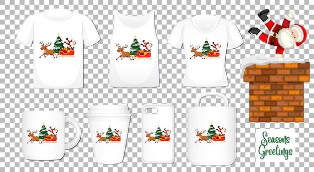 Père Noël Dansant Le Personnage De Dessin Animé Avec Un Ensemble De Différents Produits De Vêtements Et Accessoires Sur Fond Transparent Vecteur gratuit