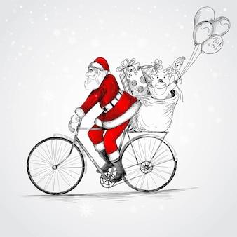 Père noël dessiné à la main sur une bicyclette offrant des croquis de cadeaux de noël