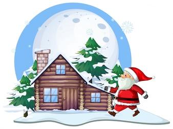 Père Noël devant la cabane