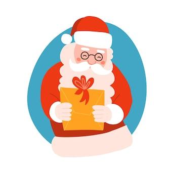Le père noël donne une boîte-cadeau de noël avec un arc mignon personnage pose carte de voeux élément dessin animé fl ...