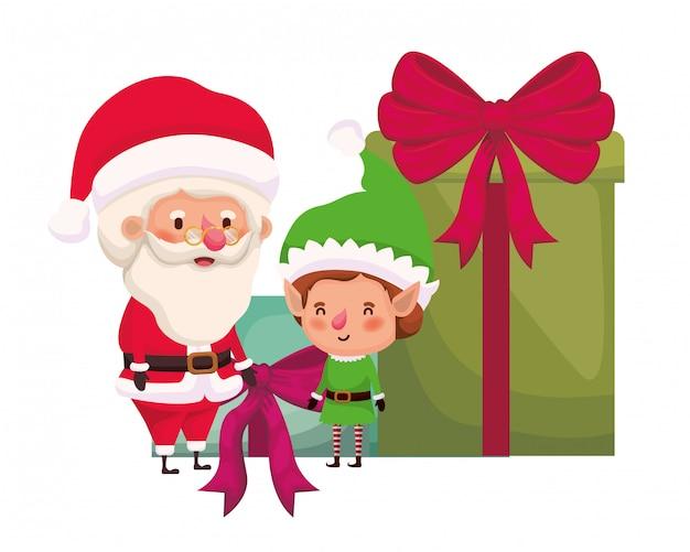 Père noël et elfe avec des coffrets cadeaux