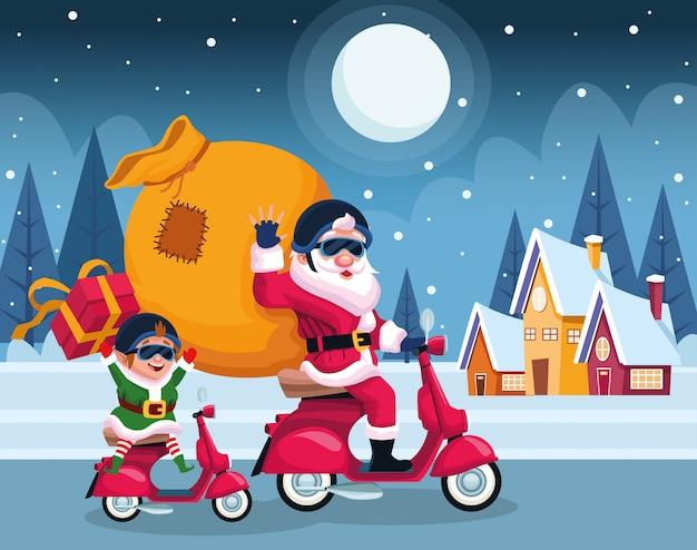 Père noël et elfe en motos avec sac et boîtes-cadeaux sur les maisons et la nuit d'hiver