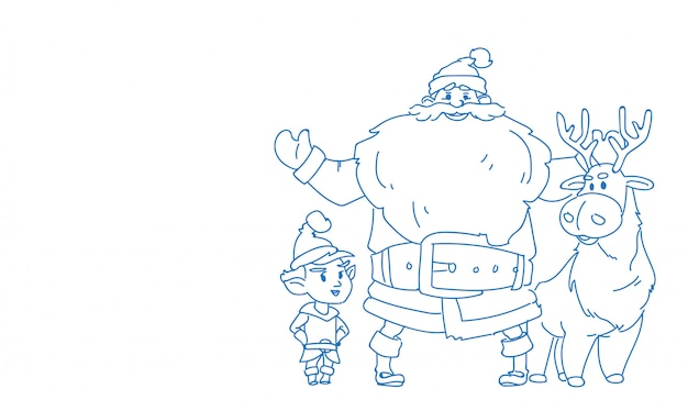 Père noël elfe renne bonne année joyeux noël