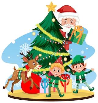 Père noël avec elfes et rennes