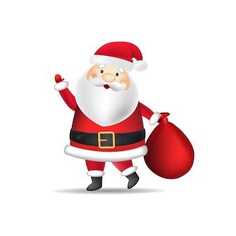 Père Noël en costume portant un sac