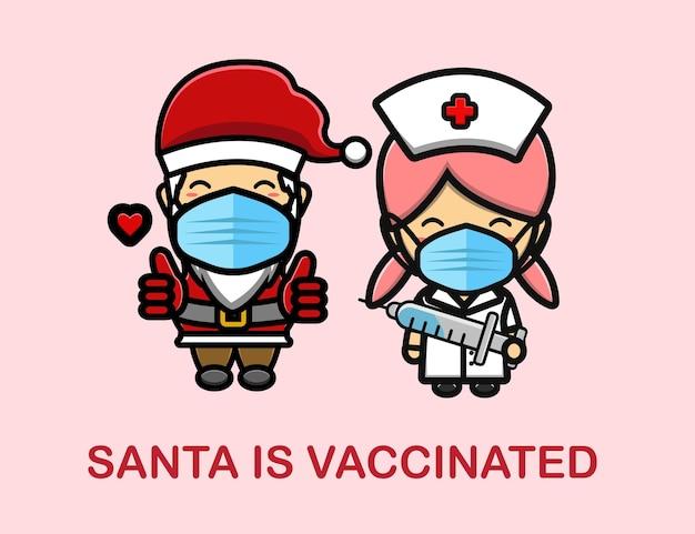 Le père noël est un dessin animé mascotte vacciné